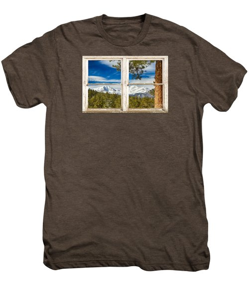 Colorado Rocky Mountain Rustic Window View Men's Premium T-Shirt