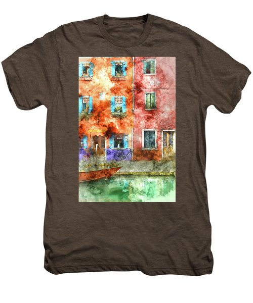 Colorful Houses In Burano Island, Venice Men's Premium T-Shirt