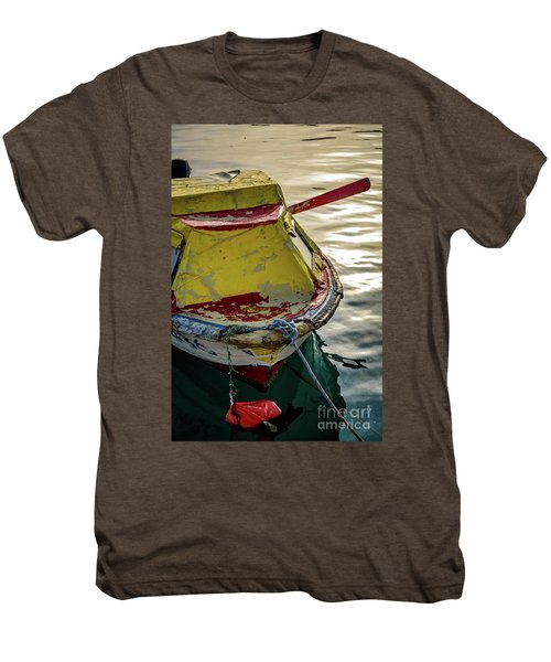 Colorful Old Red And Yellow Boat During Golden Hour In Croatia Men's Premium T-Shirt