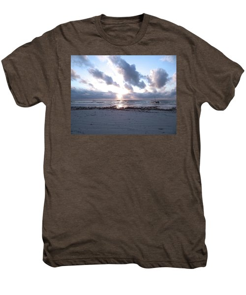 Coloured Sky - Sun Rays And Wooden Dhows Men's Premium T-Shirt