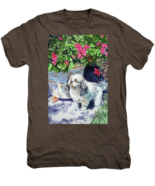 Cute Shih Tzu Dog Under Geranium  Men's Premium T-Shirt