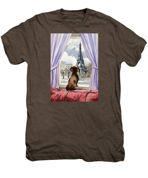 Dachshund In Paris Men's Premium T-Shirt