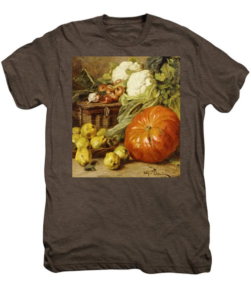 Detail Of A Still Life With A Basket, Pears, Onions, Cauliflowers, Cabbages, Garlic And A Pumpkin Men's Premium T-Shirt by Eugene Claude