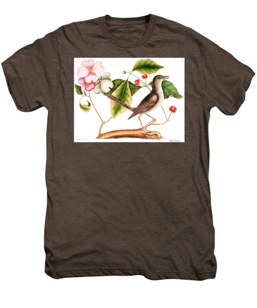 Dogwood  Cornus Florida, And Mocking Bird  Men's Premium T-Shirt by Mark Catesby