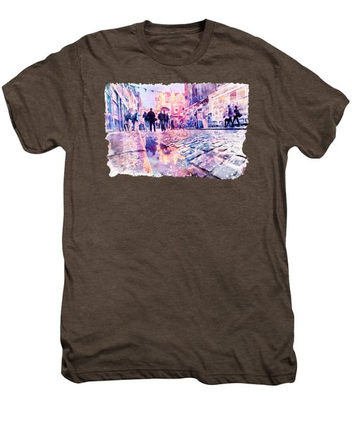 Dublin Watercolor Streetscape Men's Premium T-Shirt