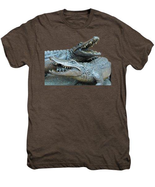 Dueling Gators Transparent For Customization Men's Premium T-Shirt by D Hackett