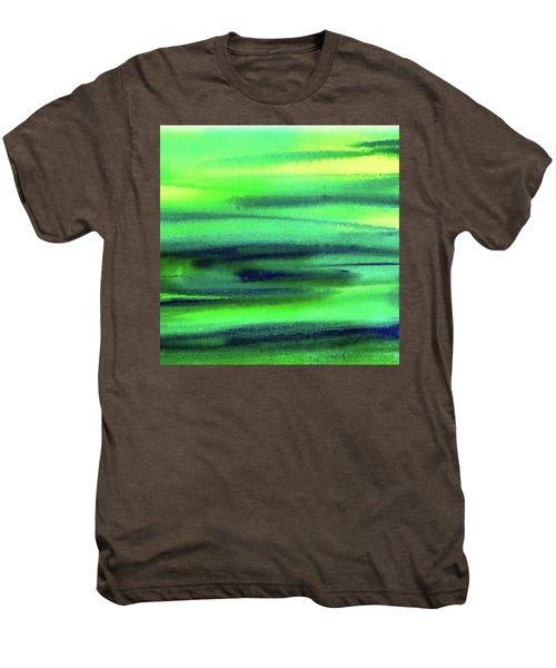 Emerald Flow Abstract Painting Men's Premium T-Shirt