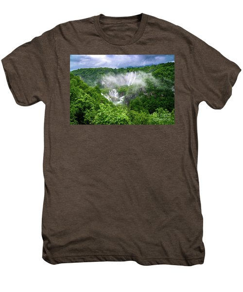 Falls Through The Fog - Plitvice Lakes National Park Croatia Men's Premium T-Shirt