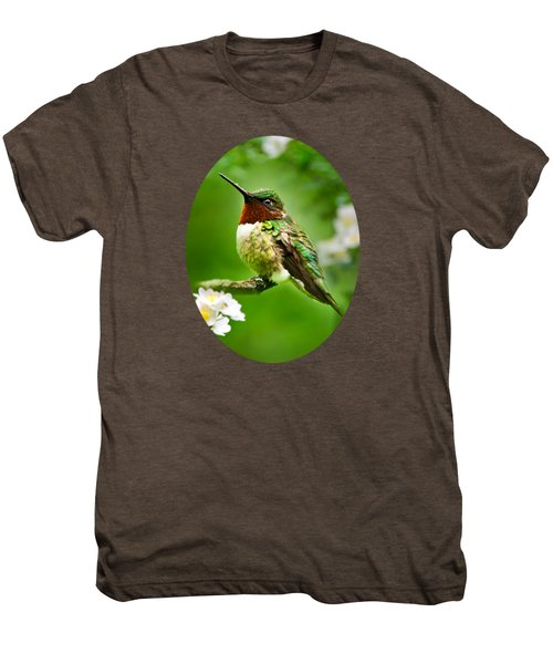 Fauna And Flora - Hummingbird With Flowers Men's Premium T-Shirt by Christina Rollo