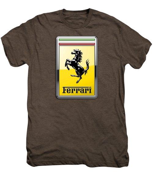 Ferrari 3d Badge- Hood Ornament On Yellow Men's Premium T-Shirt