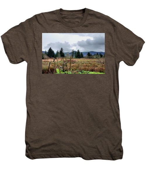 Field, Clouds, Distant Foggy Hills Men's Premium T-Shirt
