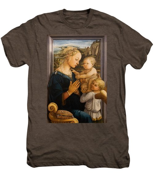 Florence - Madonna And Child With Angels- Filippo Lippi Men's Premium T-Shirt