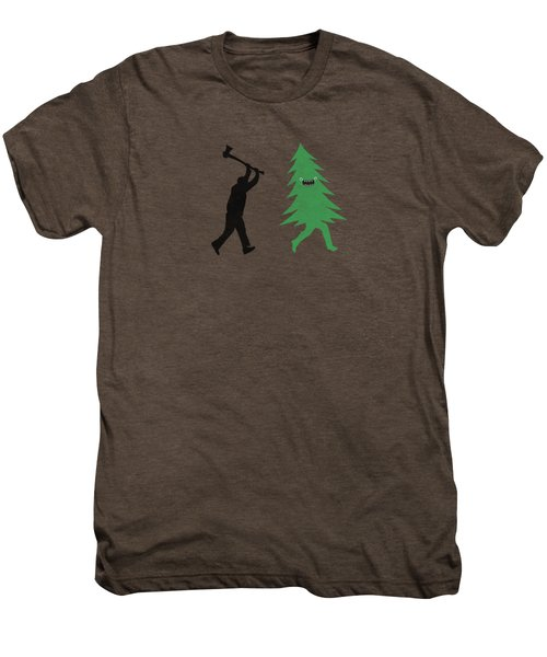 Funny Cartoon Christmas Tree Is Chased By Lumberjack Run Forrest Run Men's Premium T-Shirt