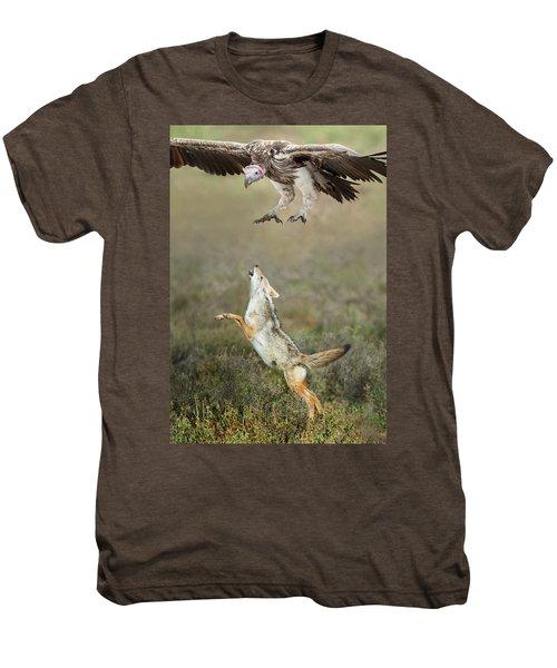 Golden Jackal, Canis Aureus, Leaping At Vulture Men's Premium T-Shirt