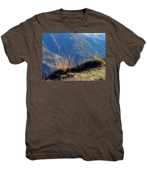 Grass In The Foreground, The Main Valley Of The Swiss Canton Of Valais In The Background Men's Premium T-Shirt