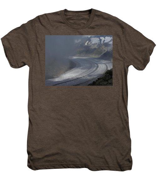 Great Aletsch Glacier In The Clouds. Canton Of Valais, Switzerland. Men's Premium T-Shirt