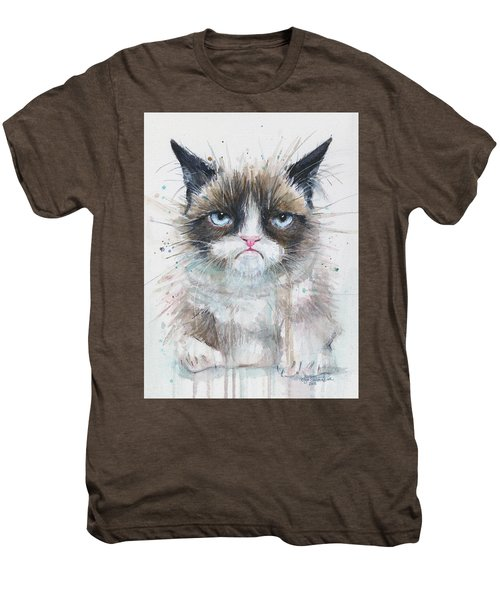 Grumpy Cat Watercolor Painting  Men's Premium T-Shirt
