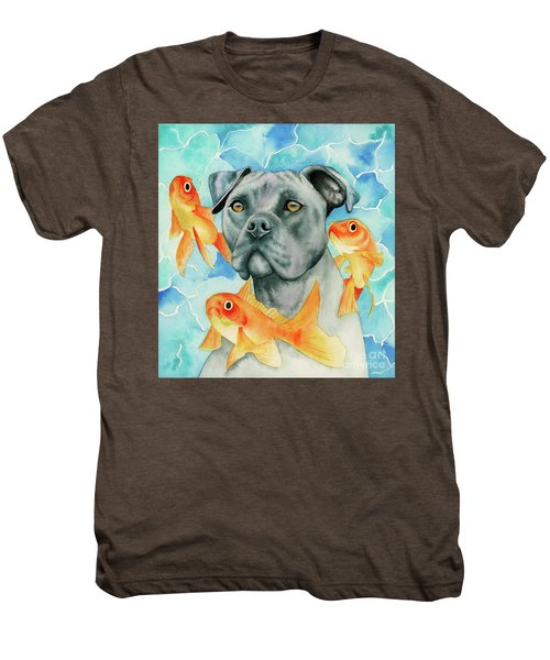 Guardian - Pit Bull Dog And Goldfishes Watercolor Painting Men's Premium T-Shirt