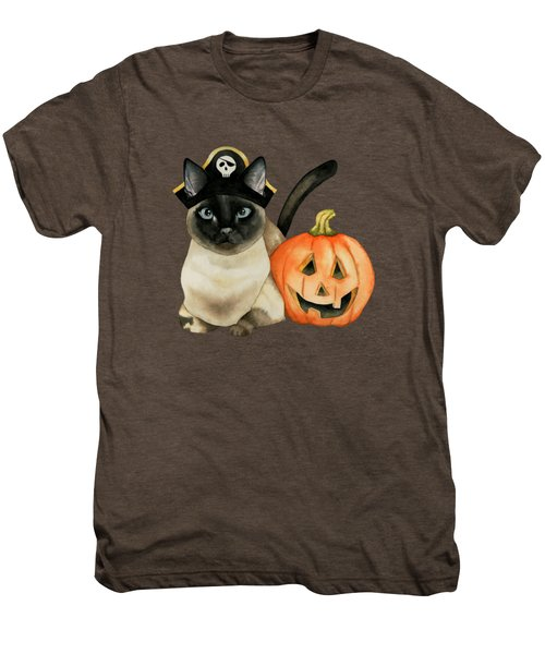 Halloween Siamese Cat With Jack O' Lantern Men's Premium T-Shirt