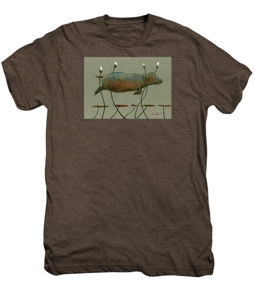 Happy Hippo Swimming Men's Premium T-Shirt by Juan  Bosco