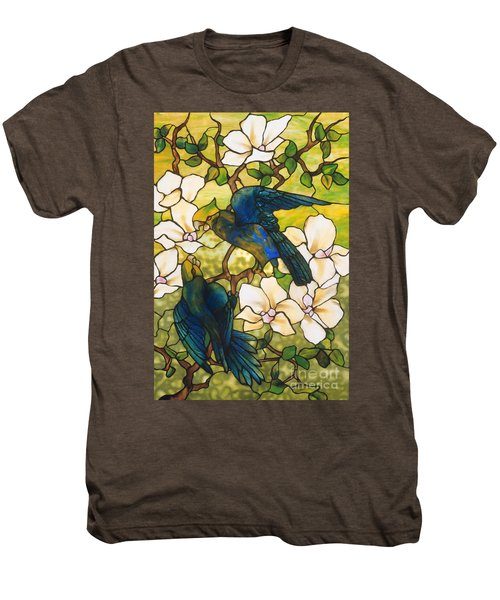 Hibiscus And Parrots Men's Premium T-Shirt by Louis Comfort Tiffany