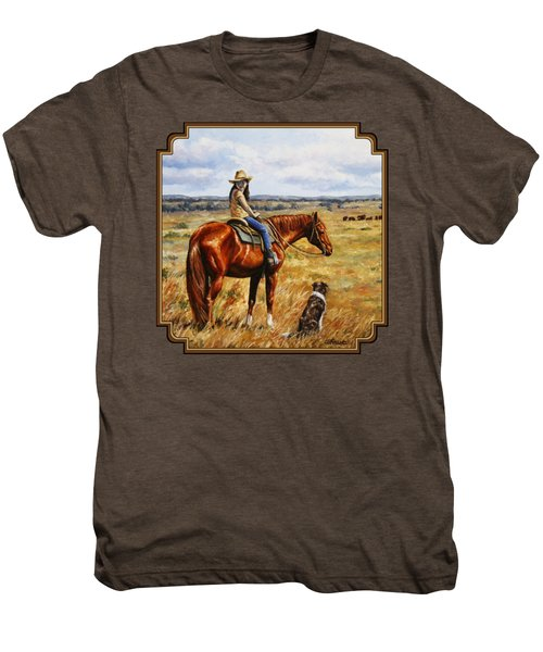 Horse Painting - Waiting For Dad Men's Premium T-Shirt
