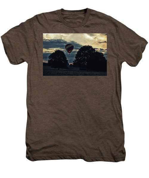 Hot Air Balloon Between The Trees At Dusk Men's Premium T-Shirt