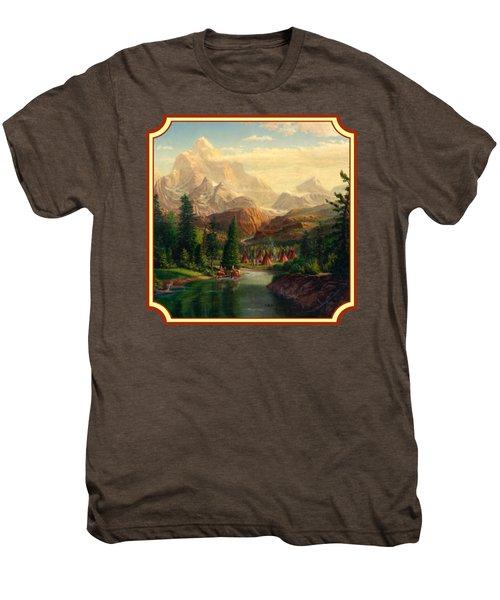 Indian Village Trapper Western Mountain Landscape Oil Painting - Native Americans -square Format Men's Premium T-Shirt
