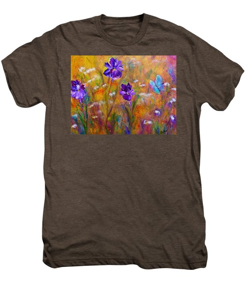 Iris Wildflowers And Butterfly Men's Premium T-Shirt