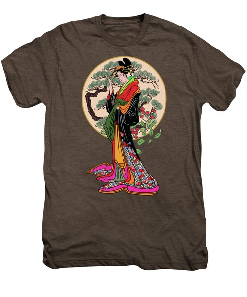 Japanese Girl With A Landscape In The Background. Men's Premium T-Shirt