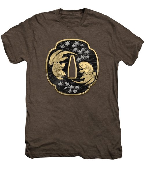 Japanese Katana Tsuba - Twin Gold Fish On Black Steel Over Red Velvet Men's Premium T-Shirt