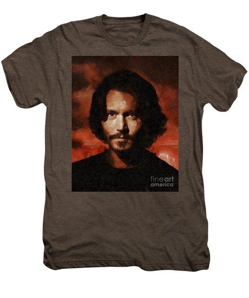Johnny Depp, Hollywood Legend By Mary Bassett Men's Premium T-Shirt