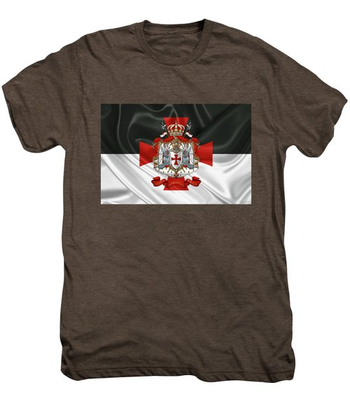Knights Templar - Coat Of Arms Over Flag Men's Premium T-Shirt
