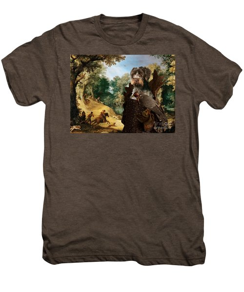Korthals Pointing Griffon Art Canvas Print - The Hunters And Lady Falconer Men's Premium T-Shirt