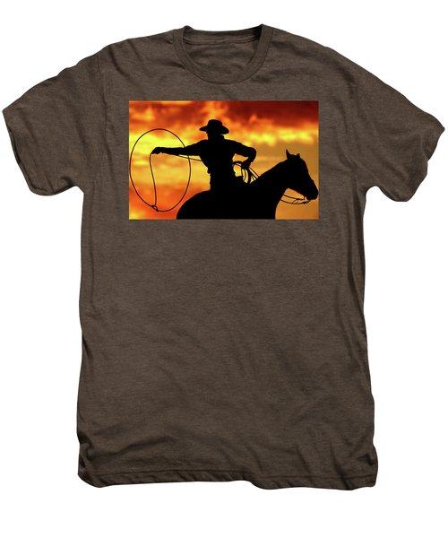 Lasso Sunset Cowboy Men's Premium T-Shirt