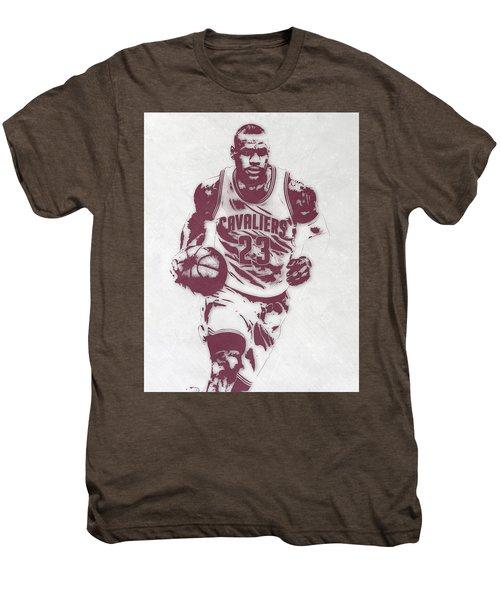 Lebron James Cleveland Cavaliers Pixel Art 4 Men's Premium T-Shirt by Joe Hamilton
