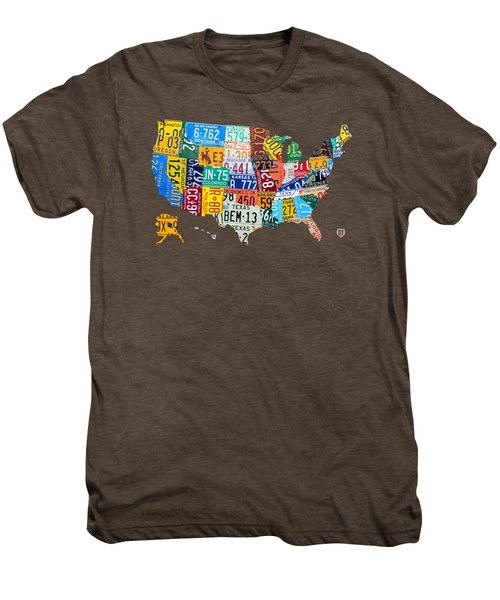 License Plate Map Of The United States Men's Premium T-Shirt by Design Turnpike