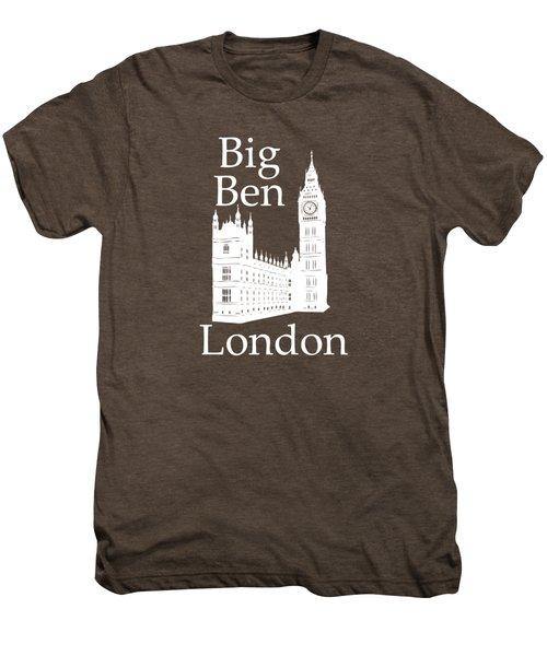 London's Big Ben In White - Vertical Men's Premium T-Shirt