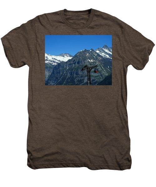 Maennlichen Gondola Calbleway, In The Background Mettenberg And Schreckhorn Men's Premium T-Shirt