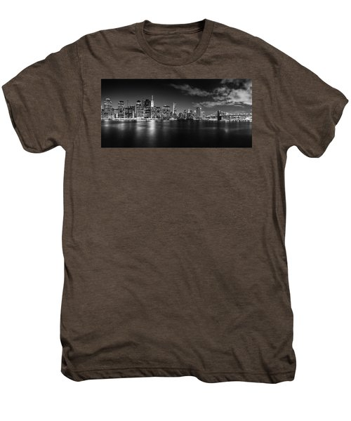 Manhattan Skyline At Night Men's Premium T-Shirt by Az Jackson
