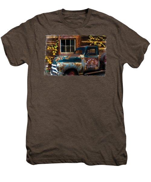Moonshine Express Bordered Men's Premium T-Shirt by Debra and Dave Vanderlaan