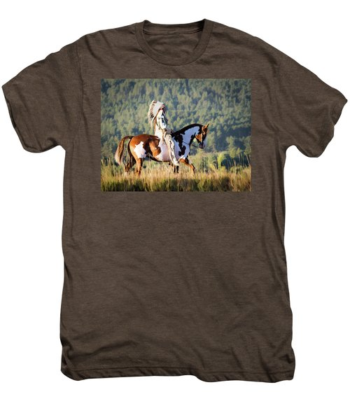 Native American On His Paint Horse Men's Premium T-Shirt