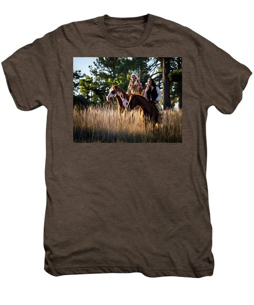 Native Americans On Horses In The Morning Light Men's Premium T-Shirt