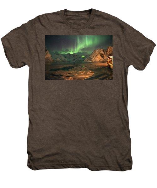 Northern Light In Lofoten, Nordland 1 Men's Premium T-Shirt by Dubi Roman