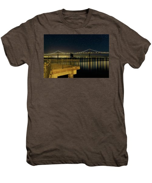 Oakland Bay Bridge By The Pier In San Francisco At Night Men's Premium T-Shirt