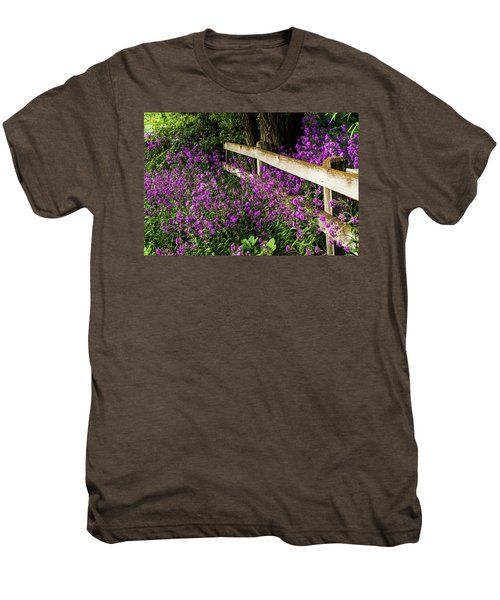 Old Fence And Purple Flowers Men's Premium T-Shirt