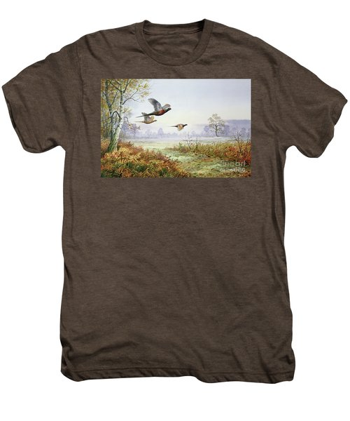 Pheasants In Flight  Men's Premium T-Shirt by Carl Donner