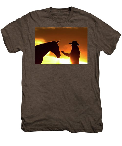 Cowgirl Sunset Sihouette Men's Premium T-Shirt