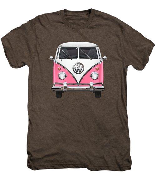 Pink And White Volkswagen T 1 Samba Bus On Yellow Men's Premium T-Shirt