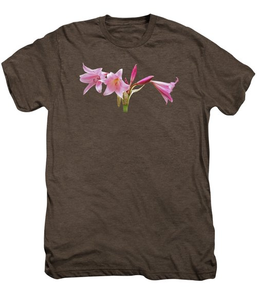 Pink Lilies On Black Men's Premium T-Shirt